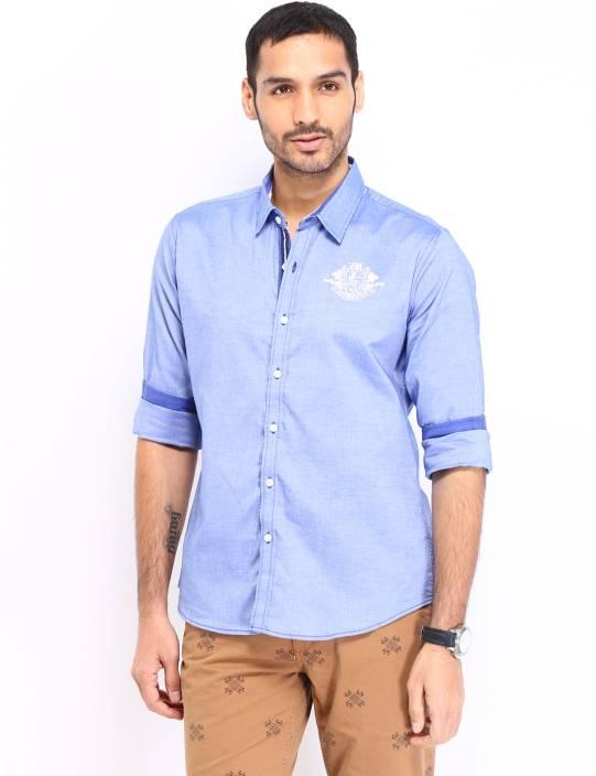 Kook N Keech Men's Solid Casual Blue Shirt