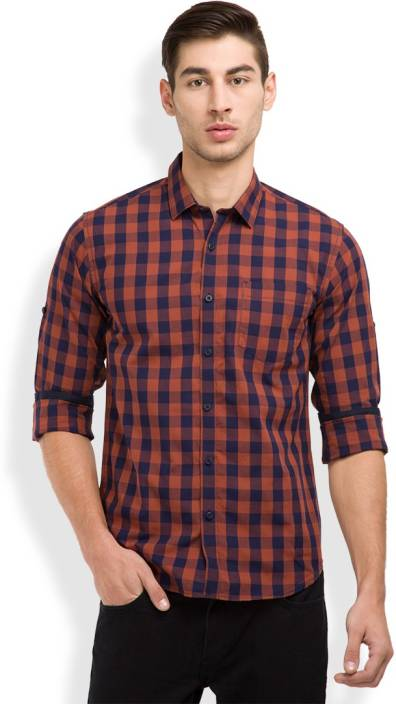 Highlander Men's Checkered Casual Regular Shirt