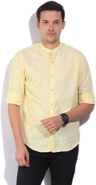 Peter England Mens Solid Casual Yellow Shirt