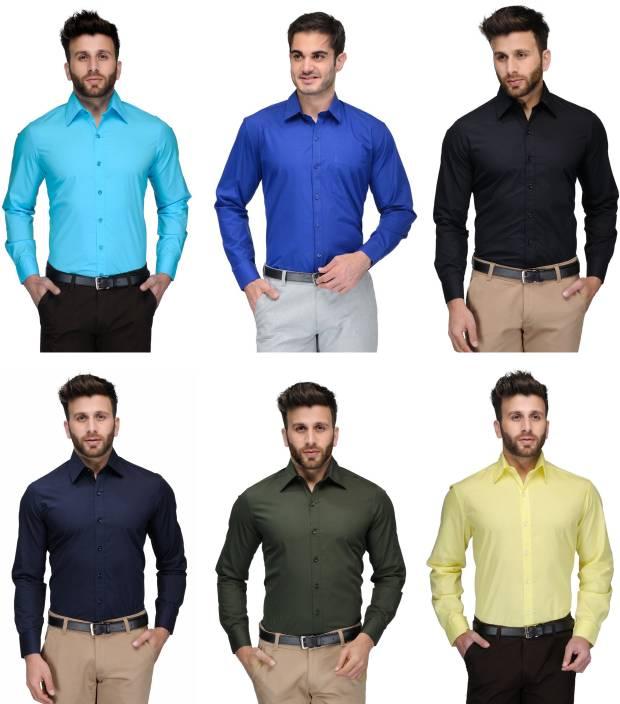 Allen Men's Solid Formal Light Blue, Blue, Black, Dark Blue, Green, Yellow Shirt