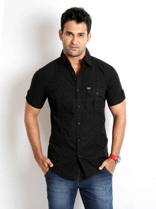 Rodid Men's Solid Casual Black Shirt - Buy Jet Black Rodid Men's ...