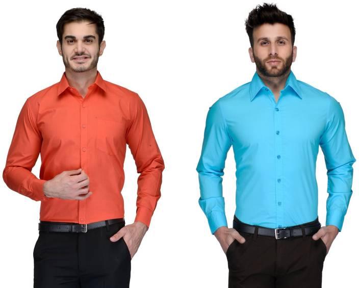 Allen Men's Solid Formal Orange, Light Blue Shirt