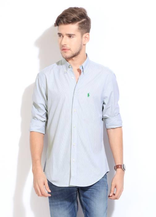 Polo Ralph Lauren Men's Striped Formal Blue Shirt