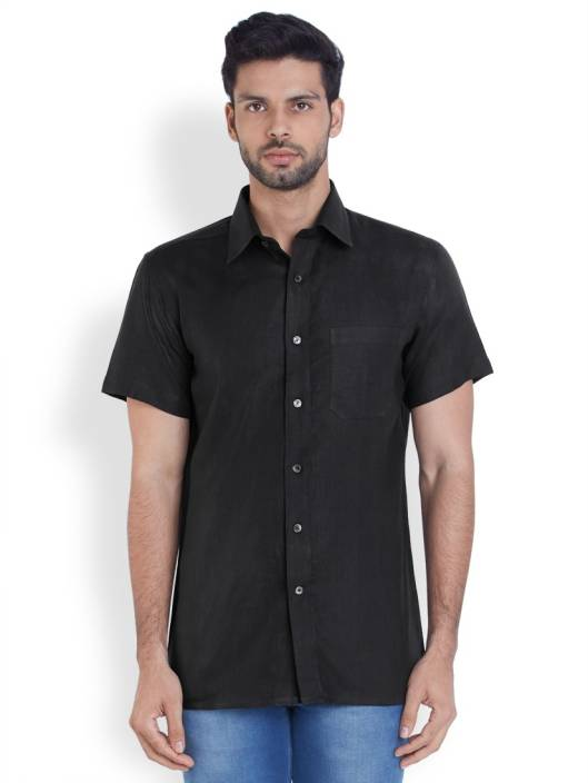 Raymond Men's Solid Formal Linen Black Shirt