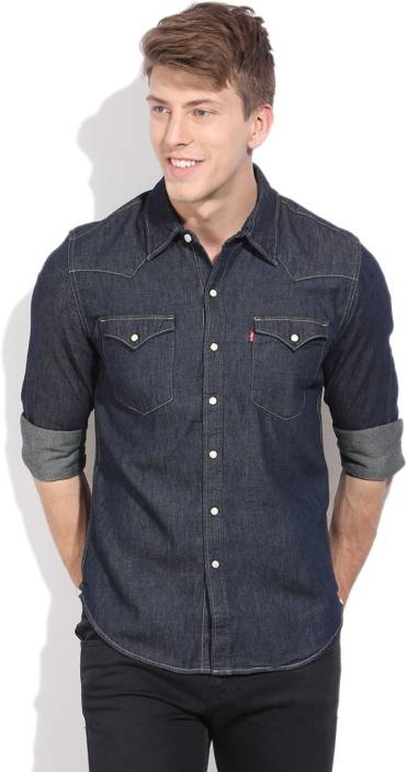 Levi's Men's Solid Casual Dark Blue Shirt - Buy Blues Levi's Men's ...