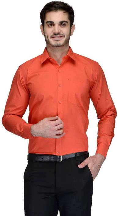 Allen Men's Solid Formal Orange Shirt