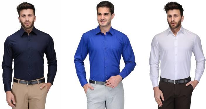 Allen Men's Solid Formal Dark Blue, Blue, White Shirt