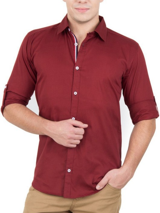 a56158d114 Elepants mens solid casual red shirt buy dark red elepants mens solid casual  red shirt online