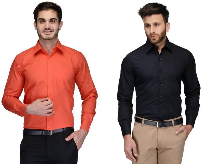 Allen Men's Solid Formal Orange, Black Shirt