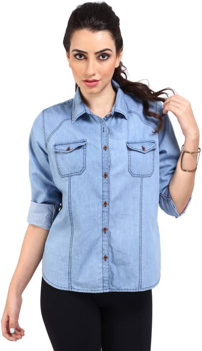 Bombay Casual Jeans Girls Solid Casual Light Blue Shirt Buy Ice