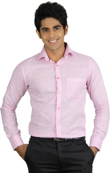 Finder Zone Men's Solid Formal Linen Pink Shirt - Buy Pink Finder ...