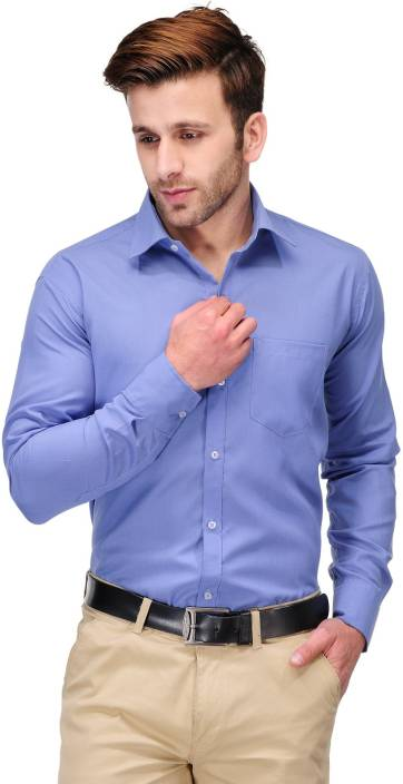 Koolpals men solid formal blue shirt buy office blue for Blue dress shirt outfit