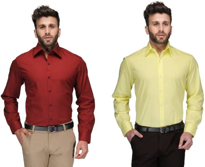 Allen Men's Solid Formal Red, Yellow Shirt