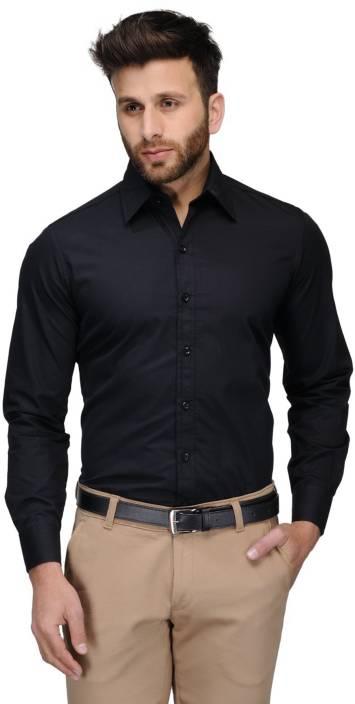 Allen Men's Solid Formal Black Shirt