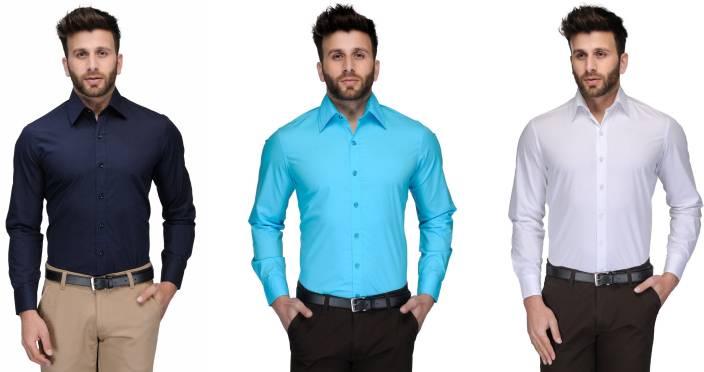 Allen Men's Solid Formal Dark Blue, Light Blue, White Shirt