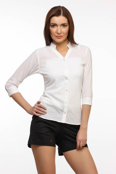 Cation Women's Solid Formal White Shirt - Buy White Cation Women's ...