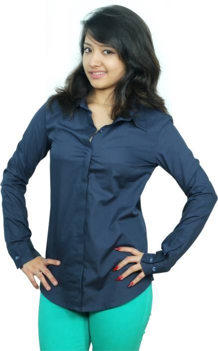 Neburu Women's Solid Casual Dark Blue Shirt