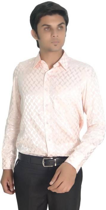 R.K.Garments Men's Solid Casual Pink Shirt
