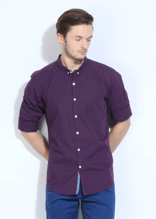 Flippd Men's Solid Casual Purple Shirt