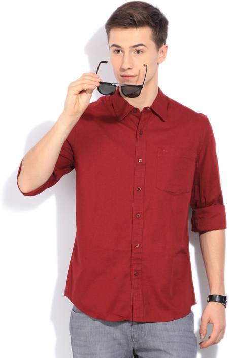 Lee Men's Casual Maroon Shirt