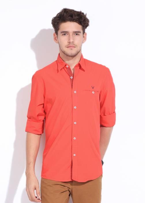 Allen Solly Men's Solid Casual Orange Shirt
