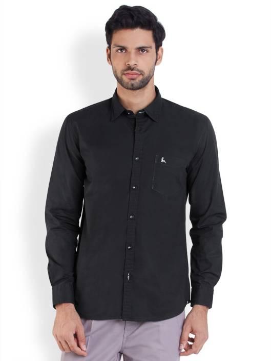 Parx Men's Solid Casual Black Shirt