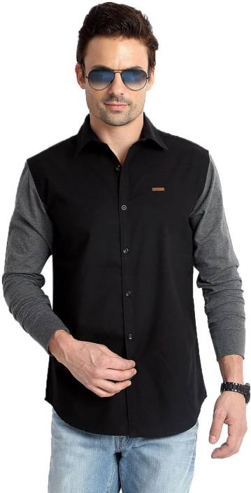 Rodid Mens Solid Casual Black Shirt