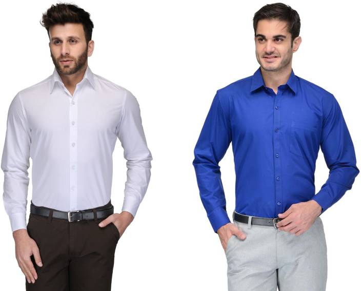 Allen Men's Solid Formal White, Blue Shirt