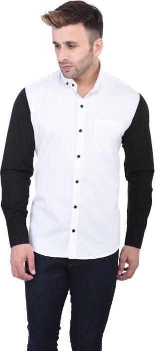 Pickurs Men's Solid Casual White, Black Shirt - Buy White Pickurs ...