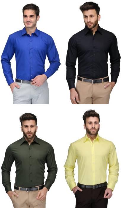 Allen Men's Solid Formal Blue, Black, Green, Yellow Shirt