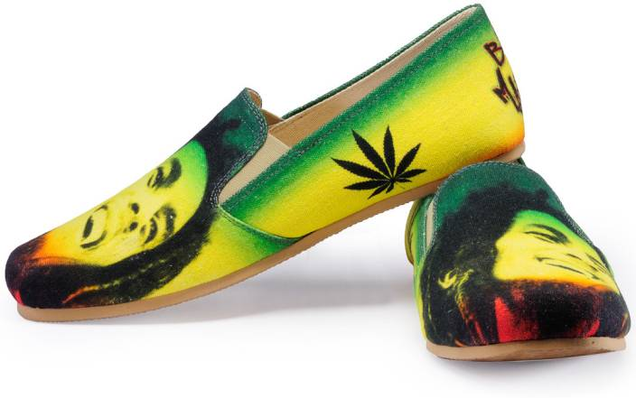 Funk Bob Marley Printed Loafers Green And Yellow Color Shoes