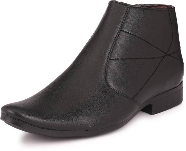 04392367f20 Knoos Semi Formal Black Boots Slip On For Men - Buy Black Color ...