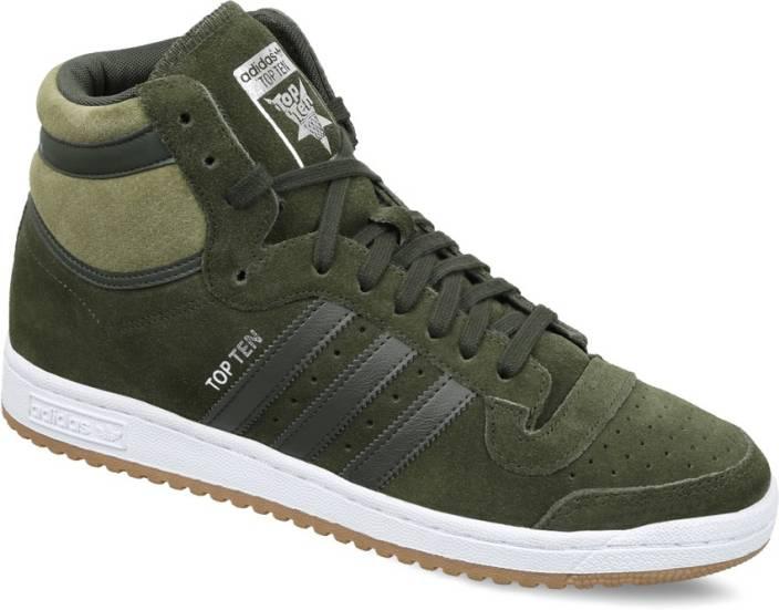 online store 9e758 1a36a ADIDAS ORIGINALS TOP TEN HI Mid Ankle Sneakers For Men (Green)