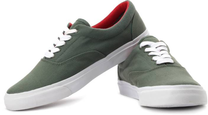 United Colors Of Benetton Canvas Sneakers For Men Buy Olive Color