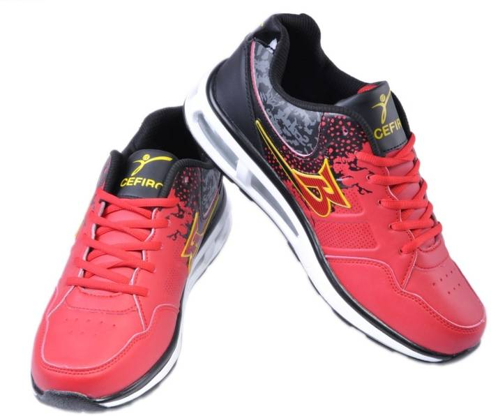 Cefiro Red and Black Sneakers For Men
