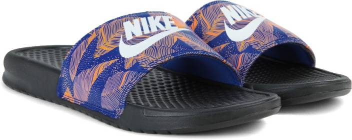 9c4601a364e Nike BENASSI JDI PRINT Slides For Men - Buy BLACK WHITE-RACER BLUE ...