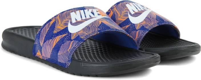 41f25422ffa8f Nike BENASSI JDI PRINT Slides For Men - Buy BLACK WHITE-RACER BLUE ...