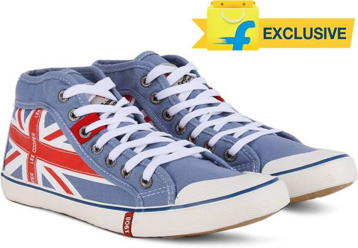 29c3796bb4ab Lee Cooper Men Mid Ankle Canvas Sneakers For Men - Buy SKY BLUE RED ...