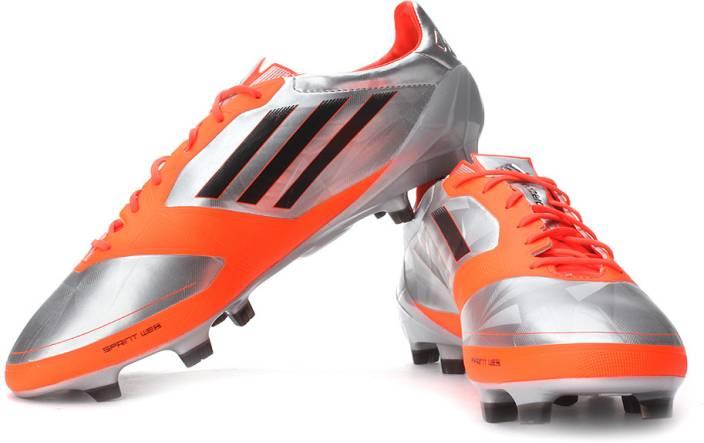79c11d10c7b4 ADIDAS F50 Adizero Trx Fg Syn Football Shoes For Men (Silver, Orange)