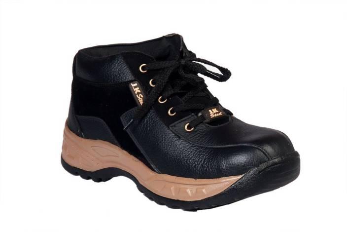 aa8d0d948af JK Port Black Faux Leather Safety Shoe High Tops For Men