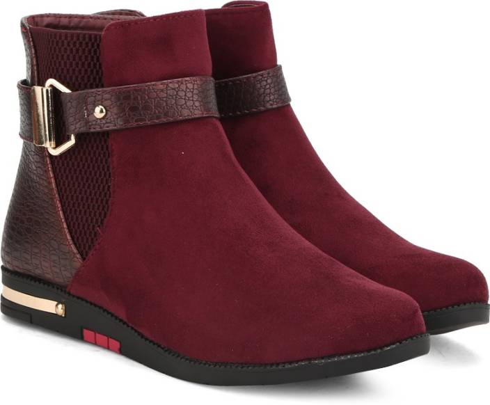 Addons Addons Maroon Colored Boots Boots For Women