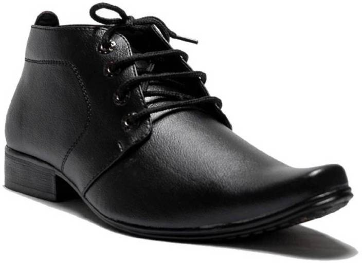 f9f99c452b8c2 Oora OORA Men's Faux Leather Black Color Ankle length Shoes Office Wear  Formal Boots Size 9 UK Lace Up For Men (Black)