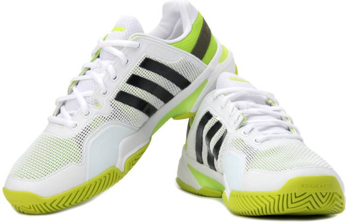 purchase cheap 6e090 1f686 ADIDAS Adipower Barricade 8 Tennis Shoes For Men (Black, Green, White)