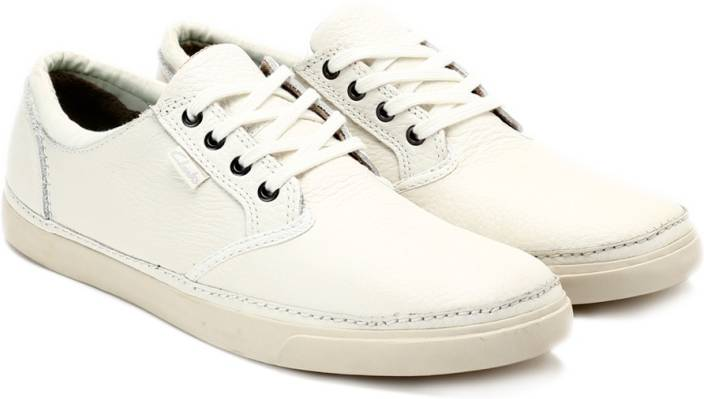 Clarks Torbay Craft White Leather Sneakers For Men