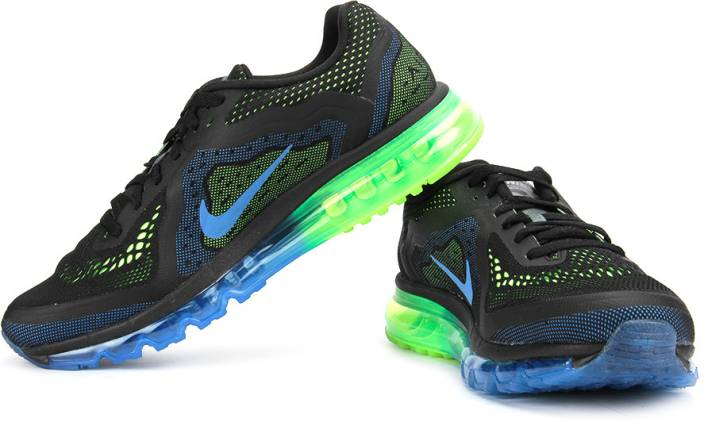 new arrival 93e43 99fb4 Nike Air Max 2014 Running Shoes For Men (Blue, Green, Black)