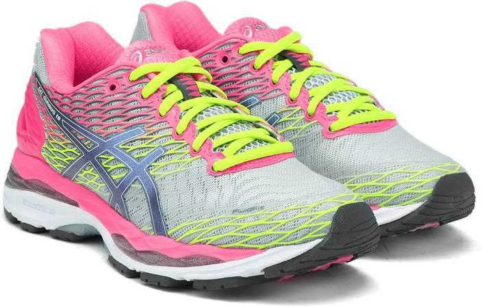 19d482e8530c1d Asics Gel-Nimbus 18 Women Running Shoes For Women (Silver, Blue, Pink)