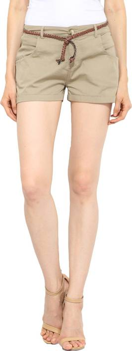 Free & Young Solid Women's Beige Basic Shorts