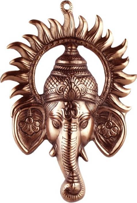 Advitiya Black Metal Ganesh Ji face Encircled With Suraj Ji Showpiece  -  30 cm