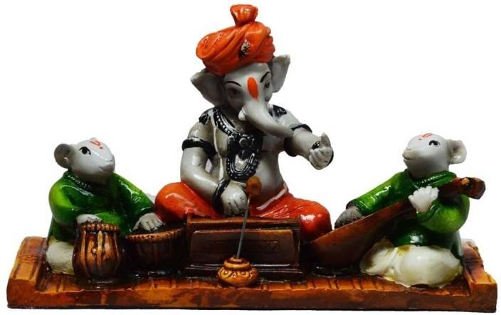 eCraftIndia Lord Ganesha Playing Harmonium with 2 Rats Showpiece  -  13.97 cm