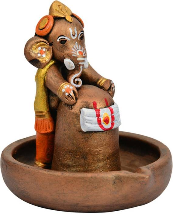 ExclusiveLane Terracotta Hand-Crafted Copper Holding Lord Shiva Ganesha Showpiece  -  12 cm